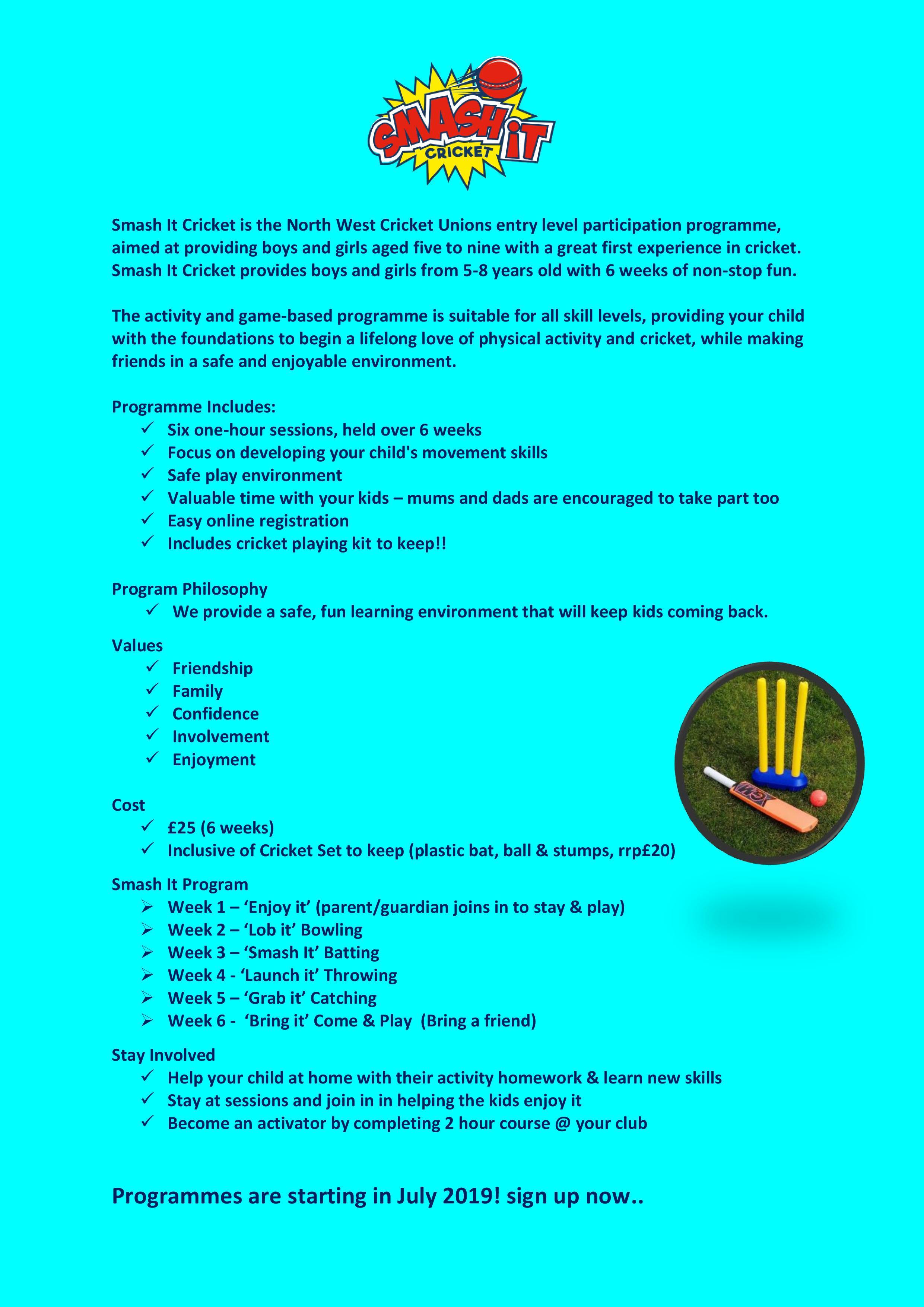 Smash It Introduction Page 001 North West Cricket Union