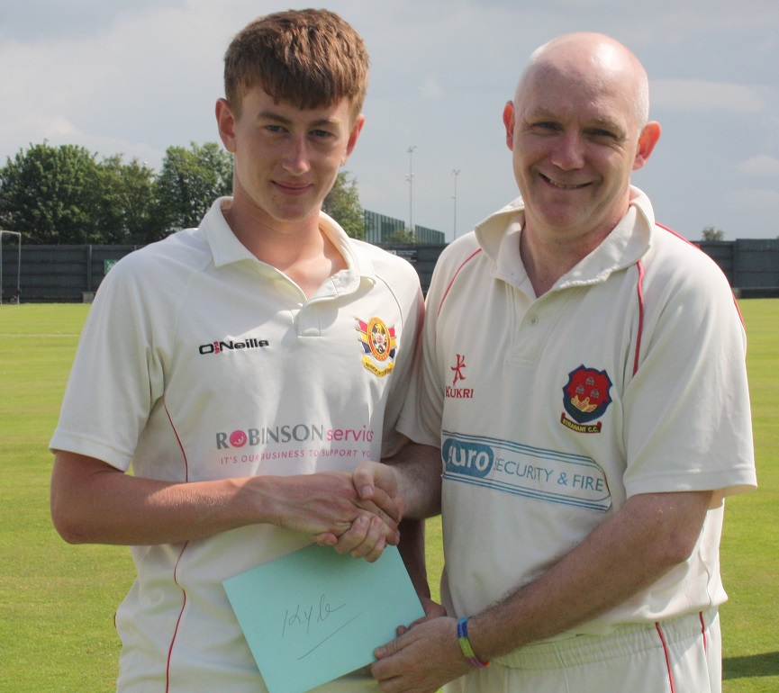 Former Ireland International Peter Gillespie was asked to present an acknowledgement from Brigade CC on his inclusion in the Ireland under-19 World Cup qualifiers squad
